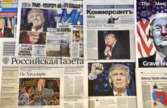 Les journaux russes rapportent la victoire électotale de Donald Trump, le 8 novembre 2016.