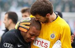 Everton Luiz en larmes à la fin de la rencontre.