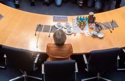 La chancelière Angela Merkel  (ici le 16 février, à Berlin) peine à créer une dynamique autour de sa candidature.