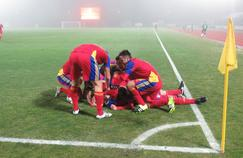 La joie des joueurs andorrans durant Saint-Marin - Andorre (2-0)