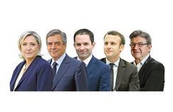Marine Le Pen, François Fillon, Benoît Hamon, Emmanuel Macron et Jean-Luc Mélenchon.