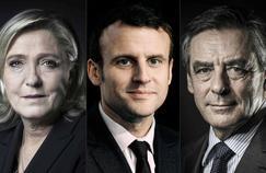Marine Le Pen, Emmanuel Macron et François Fillon.