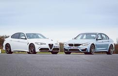 Confrontation de deux bolides grimés en berlines: l'Alfa Romeo Giulia Quadrifolio (à gauche) et la BMW M3.