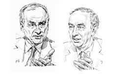 Hubert Védrine, ancien ministre des Affaires étrangères, et Jean-Dominique Giuliani, président de la Fondation Robert Schuman.