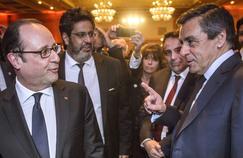 François Hollande et François Fillon au dîner du CRIF (Conseil Représentatif des Institutions Juives de France), le 22 février.