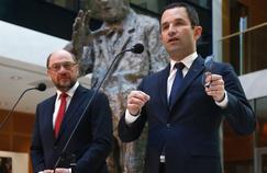 Benoît Hamon et Martin Schulz, mardi à Berlin.