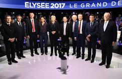 Les candidats à l'élection présidentielle, lors du grand débat télévisé organisé par BFM-TV et CNews le 4 avril 2017.