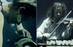 Le groupe danois Aquasonic donne des concerts sous-marins. Les musiciens jouent en apnée.