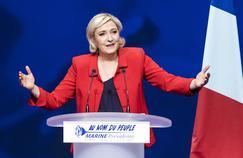 La candidate du Front national, le soir du premier tour de l'élection présidentielle.