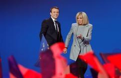Le couple Macron, dimanche 23 avril 2017.