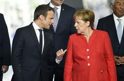 Emmanuel Macron et Angela Merkel, jeudi 25 mai, à Bruxelles.