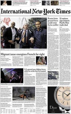 Une du <i>New York Times</i>, ce mardi matin.