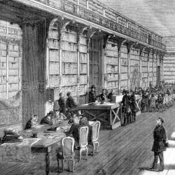 Une salle de lecture de la Bibliothèque impériale, vers 1850.