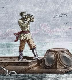 Illustration de <i>2000 lieues sous les mers</i>: le capitaine Nemo sortant du Nautilus pour prendre la hauteur du soleil.