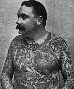 Un Américain, Frank de Burgh, totalement tatoué en 1897.
