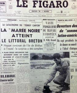 Le Figaro annonce le 11 avril 1967 l'arrivée de la marée noire sur les côtes bretonnes.