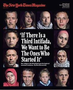Le <i> New York Times magazine </i>du 17 mars 2013. Ahed Tamimi est située en bas, la deuxième en partant de la droite.
