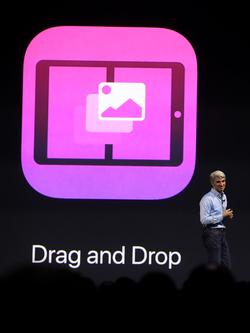 L'iPad et iOS 11 s'ouvrent au glisser-déposer.