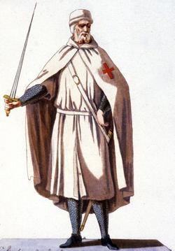 Chevalier de l'ordre du Temple en habit de guerre, gravure par Jacques Charles Bar, France, 1778.