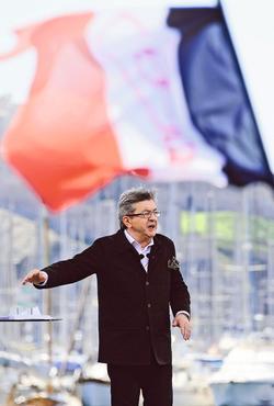 Jean-Luc Mélenchon pendant son meeting, dimanche à Marseille.
