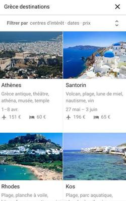 Capture d'écran d'une recherche sur Google Destinations avec iPhone. (DR)
