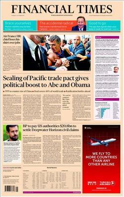 La une du <i>Financial Times</i>, mardi matin.