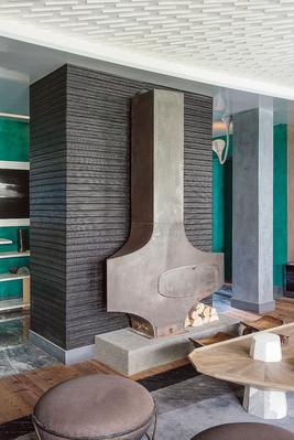 Poêle-cheminée de l'appartement Appert signé Fabrice Ausset.