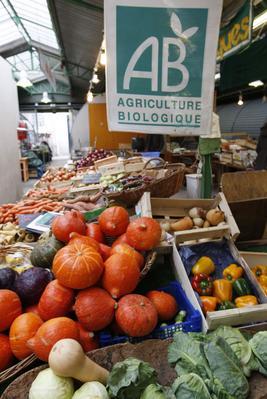 Marché de produits bios à Paris. Photo: Jean-Christophe Marmara/Le Figaro.