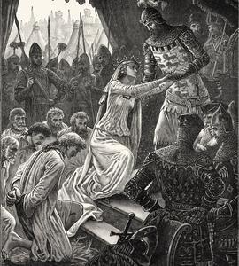 Philippa de Hainaut implore son mari Édouard III d'épargner la vie des six bourgeois de Calais.