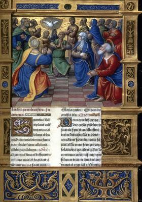 La Pentecôte, enluminure extraite d'un missel français du 15e siècle.