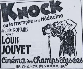 Adaptation cinématographique de «Knock» en 1933.