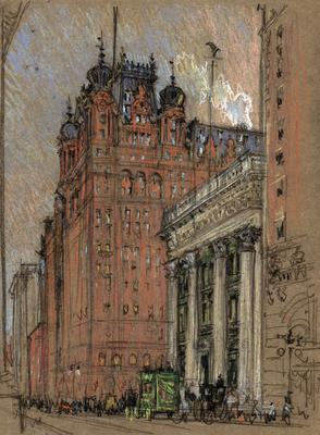 L'hôtel Waldorf Astoria sur la 5ème avenue à Manhattan dessiné par Joseph Pennell en 1906.