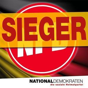 Nouvelle image de profil Facebook du NPD, dont le logo est barré du mot «vainqueur».