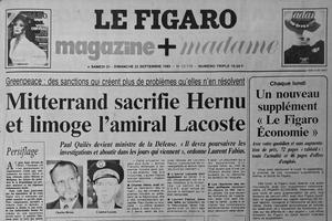 Une du Figaro du 21-22 septembre 1985, au lendemain de la démission du ministre de la Défense Charles Hernu.