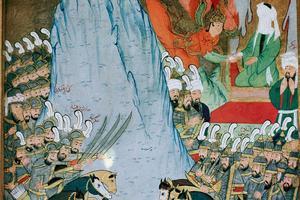 L'archange Gabriel apparaissant à Mahomet (dont le visage est voilé). Miniature ottomane du XVesiècle.