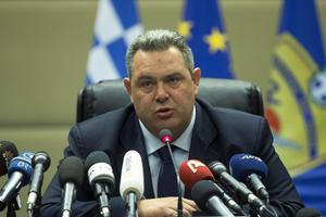 Le ministre grec de la Défense Panos Kammenos, lors de sa conférence de presse à Athènes, le 16 février.