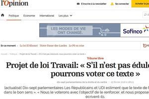 Tribune de 17 parlementaires Les Républicains et UDI dans l'Opinion.