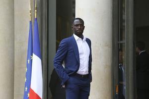 Moussa Sissoko à la sortie de l'Elysée lundi au lendemain de la finale.