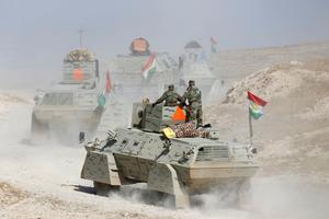 Sur le front du Khazir, le bataillon de pechmergas du général Zerar Abdullah Kadera.