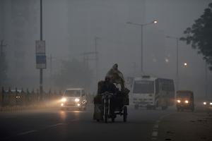 La visibilité était réduite, à New Delhi.
