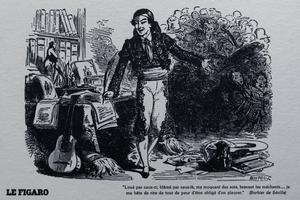 Vignette figurant Figaro et la fameuse devise: «Loué par ceux; blâmé par ceux-là...»
