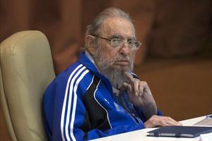 Fidel Castro, ici lors d'une de ses dernières apparitions, en avril 2016 au Congrès du parti communiste cubain.