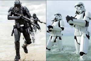 Les Deathtroopers (à gauche) et les Stormtroopers dans Rogue One.