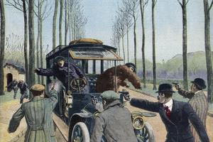 La bande à Bonnot vole un véhicule dans la forêt de Sénart. «Le Petit Journal», février 1912.