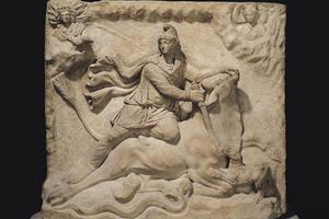 Bas-relief représentant Mithra, coiffé du bonnet phrygien, sacrifiant le taureau. Marbre du II-IIIe siècle, Louvre, Paris.