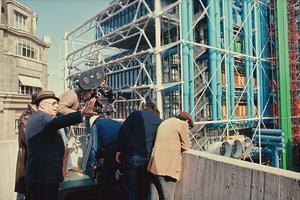 Roberto Rossellini sur le tournage de Beaubourg, centre d'art et de culture Georges-Pompidou, 1977, son dernier film.