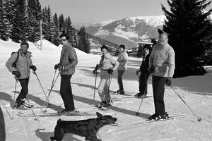 Valéry Giscard d'Estaing en famille à Courchevel, en 1980.