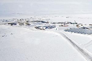 Les baraques préfabriquées, où sont logés les ouvriers de la mine de diamant de la compagnie De Beers, à Gahcho Kué.