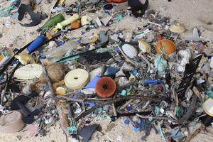 Les déchets plastiques sur une plage de l'île Henderson.