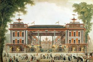 Les bains Chinois construits à Paris par Lenoir, fin XVIIIe siècle.